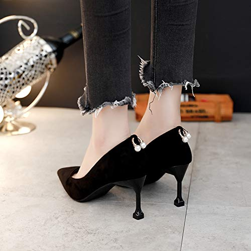 And Heel 7Cm LBTSQ Shoe Black Cat Sharp Shoes Shoes Pointed High Heel Mouth Wild Sexy Shallow Thin Single 1AnxqnZC