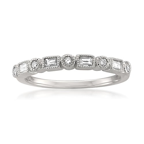 - 14k White Gold Round & Baguette Diamond Bridal Wedding Band Ring (1/4 cttw, I-J, SI2-I1), Size 8.5