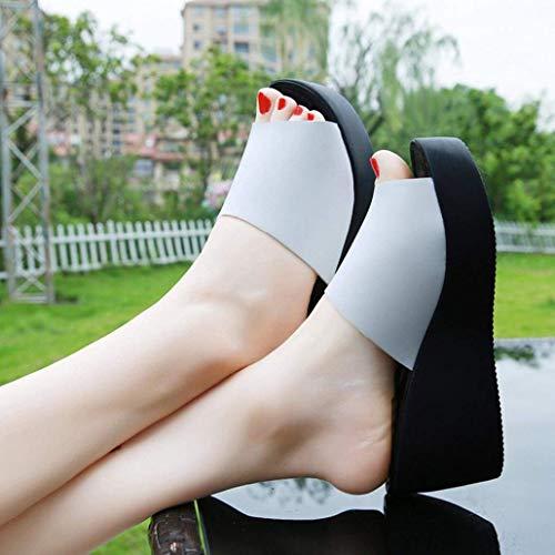 Air Taille 2 Haut Plateforme Plein Pantoufle Femmes Chaussures Compensée Qiusa Coussins Black Blanc BlanchesConfortable Poolside Beach Dames Sandales Embelli Large Talon Fit De 7 1KTJc3lF