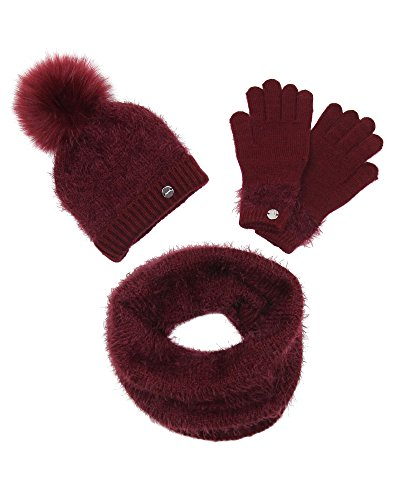 Shag Hat - Mayoral Junior Girl's Burgundy Shag Knit Hat, Scarf and Gloves Set, Sizes 8-18 - M