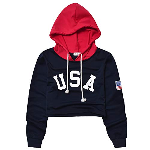 (Perfashion Cropped Top Hoodie for Women USA Letter Print Crop Sweatshirts Hoody for Teen Girls Navy Blue)