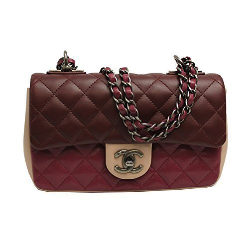 (Chanel Womens Tri-color Leather Flap Chain Shoulder Bag A92632)