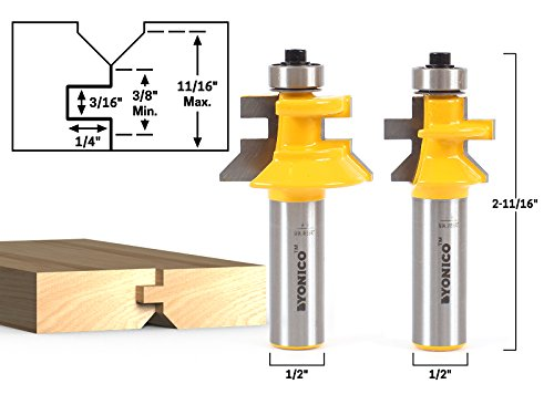 Yonico 15229 Flooring 2 Bit Tongue and Groove Router Bit Set with 1/2