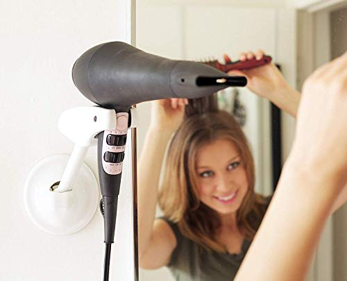 Hair Dryer Holder Wall Mount - Handsfree Blow Dryer Holder can be Mounted at any Height Allowing you to use both Hands for Hair Styling