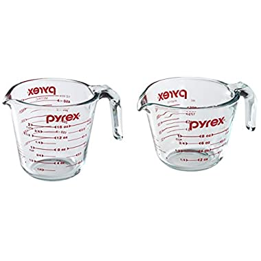 Pyrex Prepware 2-Quart Measuring Cup, Clear with Red Measurements - 1-Cup & 2-Cup
