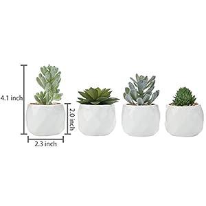 MyGift Assorted Realistic Succulent Plants in Modern Geometric Ceramic Pots, Set of 4 7