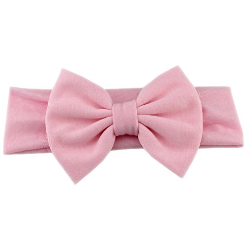 Infantile Girls 5'' Big Bow Headband For Spring Elastic Hair Bands Kids Solid Hair Bow Hair Accessories Birthday Gifts Light Pink