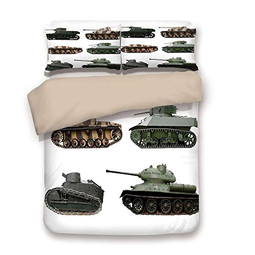 Soefipok Duvet Cover Set,War Home Decor,Second World War Armoured Tanks Camouflage Military Power Artillery Weapon,Green White,Decorative 3 Pcs Bedding Set by 2 Pillow Sham Twin Size