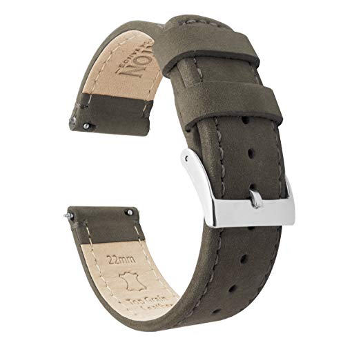 Barton Quick Release - Top Grain Leather Watch Band Strap - Choice of Width - 16mm, 18mm, 19mm, 20mm, 21mm 22mm, 23mm or 24mm - Espresso (Dark Brown) 20mm