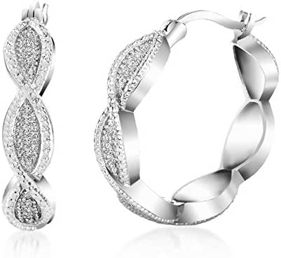 Lumineux Diamond Womens Oval Wave Diamond Accent Hoop Earrings with White Gold & Rhodium Plated Brass
