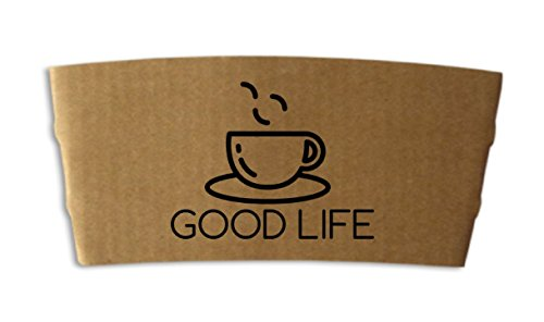 Good Life Protective Corrugated Coffee Cup Sleeve, Disposable, 100 ct. brown jackets. Fits 12 - 24 oz. Eco Environment Safe 100% Recyclable, Compostable. Perfect for cafe, break room. Made In USA