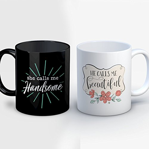 Couples Coffee Mug - Calls Me Beautiful Gorgeous Handsome - Adorable 11 oz Black/White Ceramic Tea Cup - Adorable Couples Gifts with Matching His and Hers Sayings