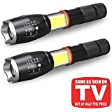 2 Pcs TACLIGHT Elite XML T6 LED Flashlight 5000 Lux COB Lantern+ Flashlight in-1with Zoom & Magnetic Base As Seen On TV Taclight LED Flashlight Lantern