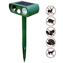 Everterco Ultrasonic Dog Cat Repeller Solar Outdoor Animal Repeller Fox Deer Rodent Pest Repellent with PIR Sensor for Farm Yard Garden (1 Piece)