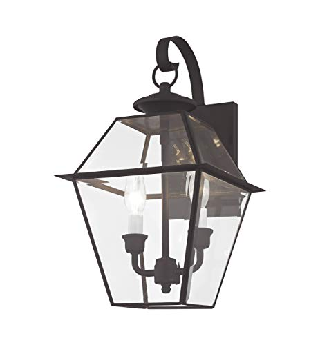 (Livex Lighting 2281-04 Westover 2 Light Outdoor Black Finish Solid Brass Wall Lantern  with Clear Beveled Glass)
