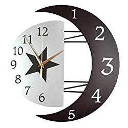 Ysayc Wall Clock Modern DecoRation Sun And Moon Wall Clock Mute The Living Room Clock Personalized Clock Simple Bedroom Linked To The Table , 16 inches , arabia dial