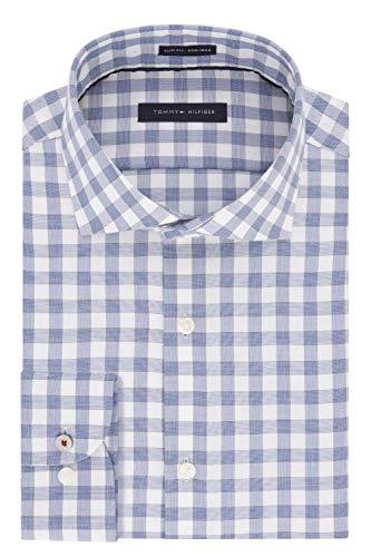 Tommy Hilfiger Men's Dress Shirts Non Iron Slim Fit Check, Medium Blue, 18