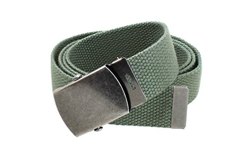 [Canvas Web Belt Military Style Antique Silver Buckle/Tip Solid Color 50