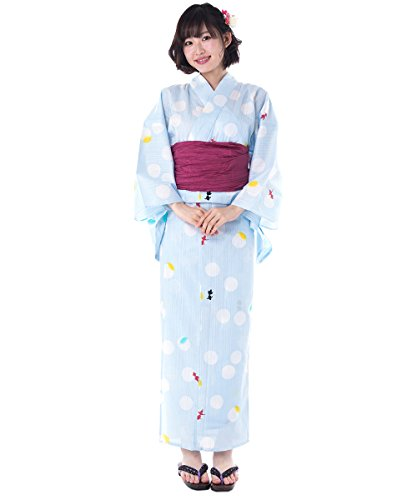 KYOETSU Women's Cute Yukata 3 Piece Set (Yukata/Obi/Geta sandals) (XX-Small (Japan Size S), FM-15(Obi Wine Red))
