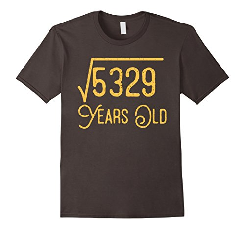 Mens 73rd Birthday Gift 73 Years Old Square Root of 5329 T-Shirt Large - Square 73
