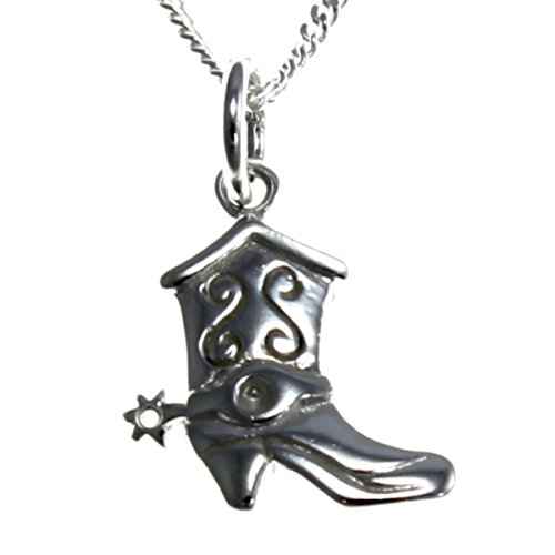 STERLING SILVER COWBOY BOOTS PENDANT NECKLACE WITH 18