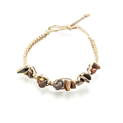 (BlueRica Hemp Anklet Bracelet with Semi Precious Gemstone Chips (Tiger Eye))