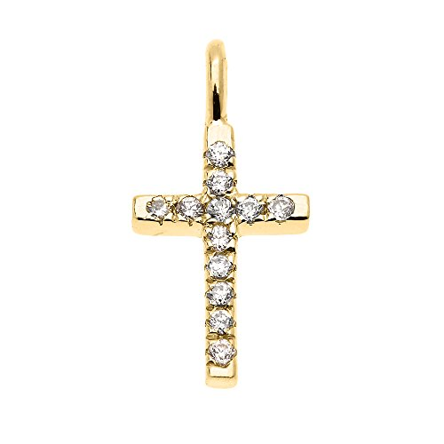 Beautiful Dainty Tiny 14k Yellow Gold Diamond Cross Charm Pendant
