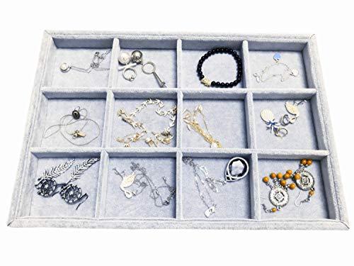 Ice Gray Plush Velvet Stackable Jewelry Display Trays Showcase Jewelry Organizer Storage Trays 12 Grids