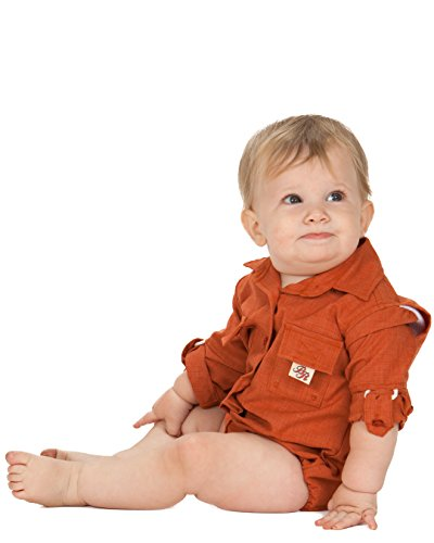 Bull Red Baby Boys Orange PFG Vented Fishing Shirt Button Up One Piece Snaps, 9m