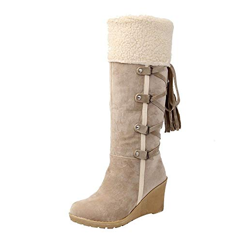 (Women Boots,Toponly Womens After Sanding with Tassels High Boots Sleeves Wedges Snow Boots)