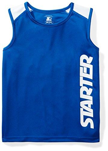 Starter Boys' Sleeveless Logo Tech T-Shirt, Amazon Exclusive, Team Blue, L (12/14) (Shirt Tech Sleeveless)