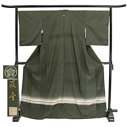 付下げ 友壱 ぼかし 紋 深緑 フォーマル 上品 シック 正絹 着物 きもの リサイクル レディース 70181551