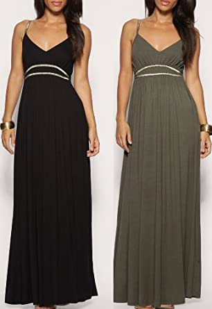 Black grecian maxi dress