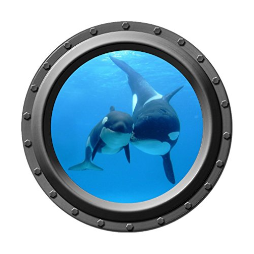 Underwater Orca Baby and Mom - Porthole Wall Decal