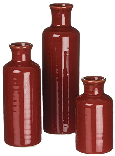 Sullivans Set of 3 Assorted Sizes Deep Red - Red Vases Tall