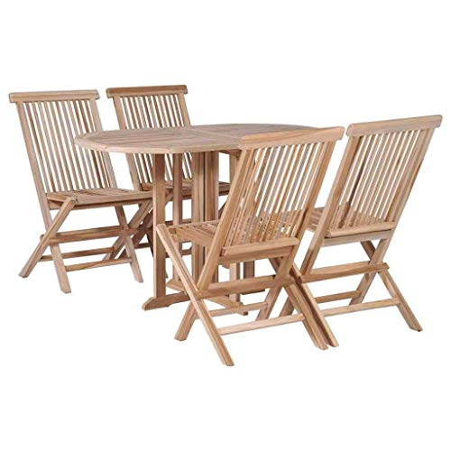 (Heavens Tvcz Solid Teak Folding Dining Set 5 Piece Drop Leaf Table Chairs Furniture for al Fresco Dining or Relaxing in The Garden or on The Patio.)