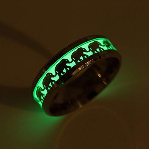 TUZECH Rings Luminous Elephant Ring Animal Pattern Decoration Ring (12)