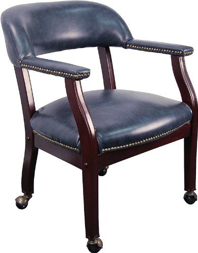 Flash Furniture B-Z100-NAVY-GG Navy Vinyl Luxurious Conference Chair with Casters, Blue