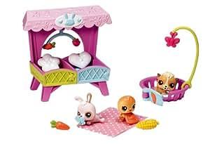 Hasbro 38683 - Juego de 3 mascotas bebés con cuna (conejo, hámster y pollo)