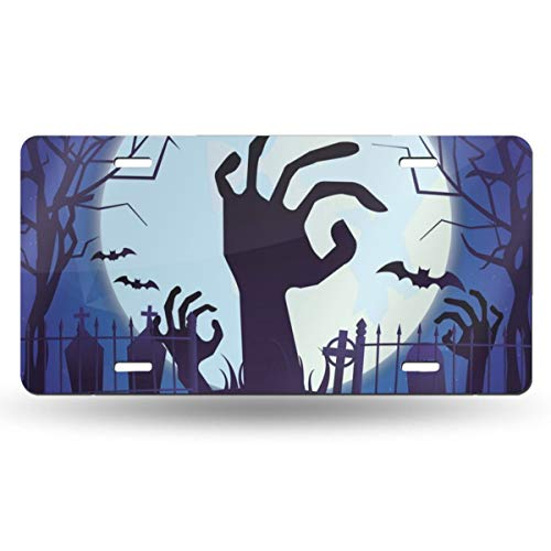 Happy Halloween Horror Night Bat Zombie Hand Moon Customized Personalized License Plate 6