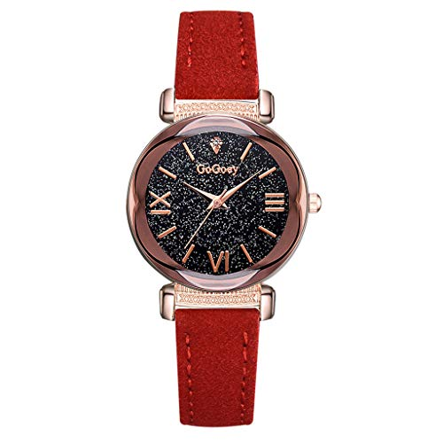 LUXISDE Watch Women Fashion Simple Roman Numeral Scale Starry Dial Dial Quartz Female Watch Red