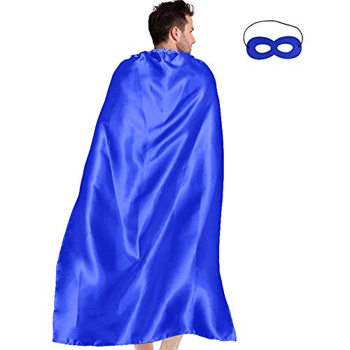 Men & Women's Superhero-Cape or Cloak with Mask for Adults Party Dress up Costumes (Blue)