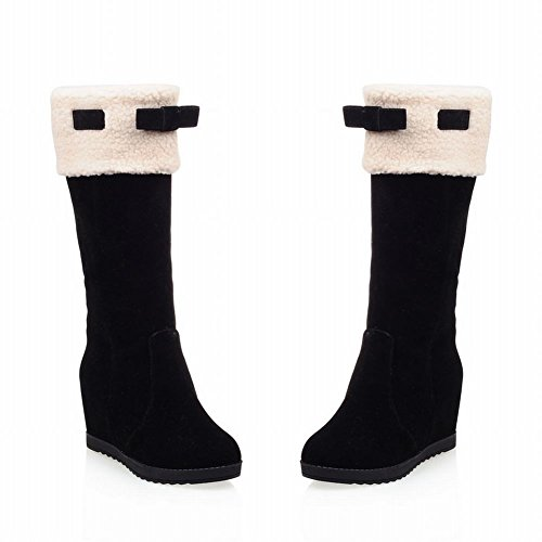 Show Shine Womens Fashion Bows Hidden Wedge Heel Tall Boots Black donA44g