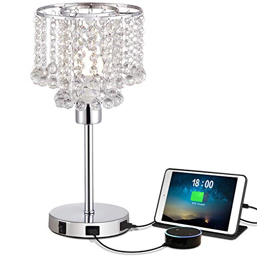 USB Crystal Bedside Table Lamp with Dual USB Charging Port, Acaxin Crystal Nightstand Lamp with Elegant Silver Crystal Shade, Crystal Desk Lamp for Bedrooms Living Room Dining Room Kitchen