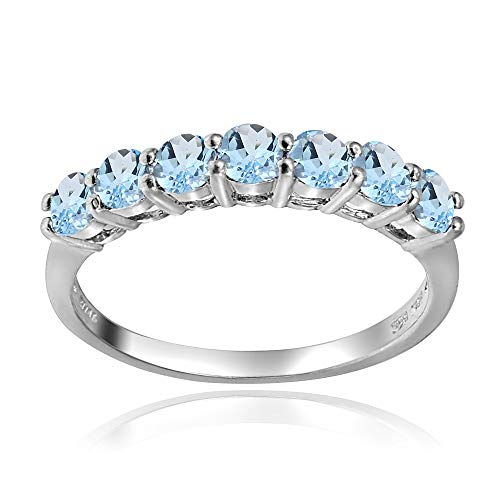 (Sterling Silver Blue Topaz 3mm Thin Half Eternity Band Ring, Size 8 )