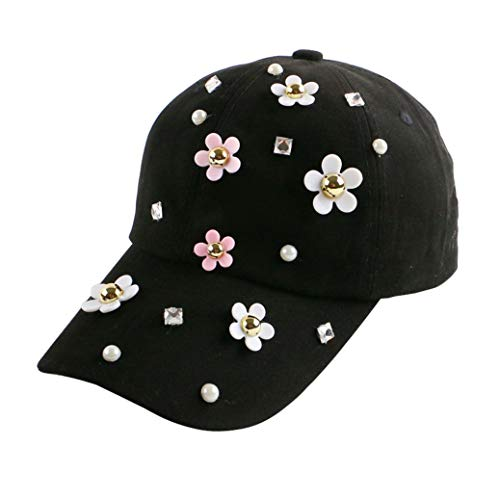 (Rhinestone Bling Pearl Embellished Daisy Flower Decorated Denim Casual Summer Snapback Hats Baseball Cap Women)