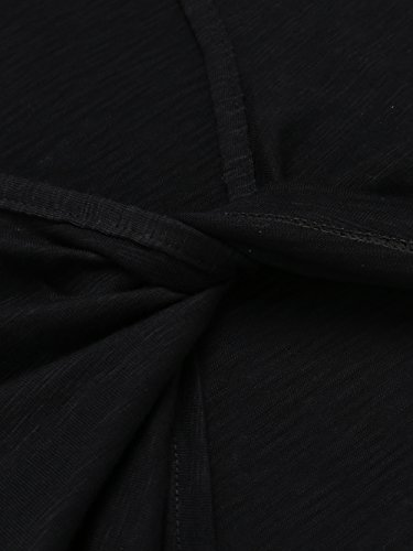 Teamyy Camiseta casual sin mangas T shirt backless chaleco de dobladillo asimétrico Top de las mujeres Negro
