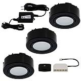 Liteline Corporation UCP-LED3-BK LED Three-Light Puck Kit, 12V, Black