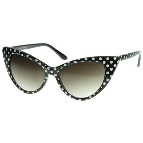 zeroUV - Polka Dot Cat Eye Womens Mod Fashion Super Cat Sunglasses (Black - Glasses Fashion 2016