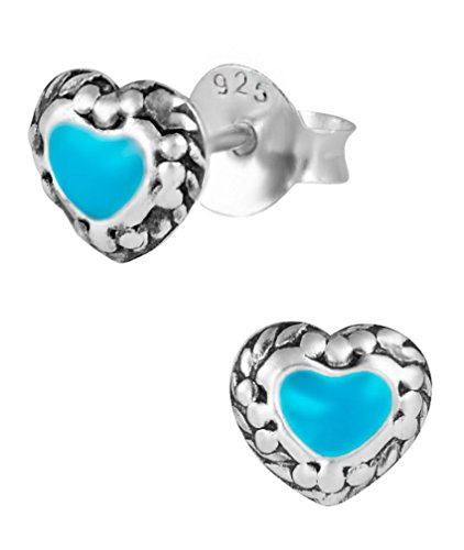 Hypoallergenic Sterling Silver Teal Center Heart Stud Earrings for Kids (Nickel (Teal Heart)